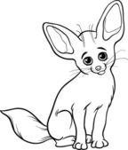 Fennec fox animal coloring page — Stock Vector