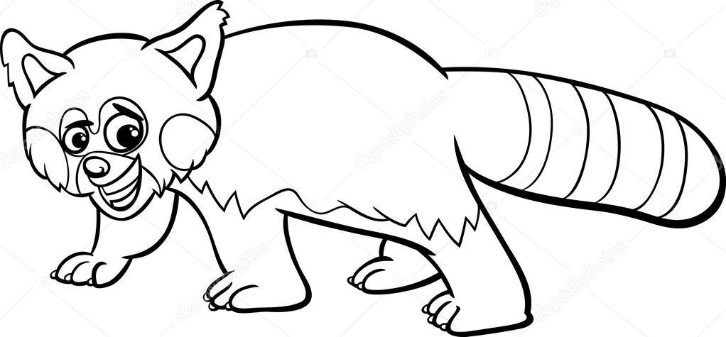 Coloriage de panda rouge dessin anim image vectorielle for Red panda coloring page
