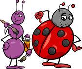 Ant and ladybug cartoon illustration — Cтоковый вектор