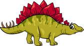 стегозавра динозавров мультфильм иллюстрация — Cтоковый вектор