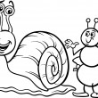 Ant and snail coloring page — Stock Vector