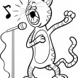 Singing cat cartoon coloring page — Stock Vector