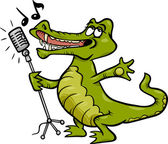Singing crocodile cartoon illustration — Stock Vector