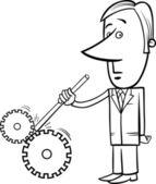 逃走迷路実業家漫画イラスト — ストックベクタ