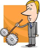 Saboteur businessman cartoon illustration — Stock Vector