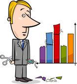 Businessman and graph data cartoon — Stock Vector