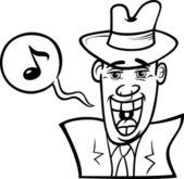 Singen mann karikatur illustration — Stockvektor