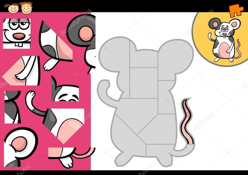 Jeu de puzzle dessin anim souris image vectorielle - Puzzle dessin ...