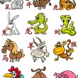 Chinese zodiac horoscope signs set — Stockvector
