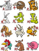 Chinese zodiac horoscope signs set — Stock Vector