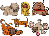 Funny dogs set cartoon illustration — Stock Vector
