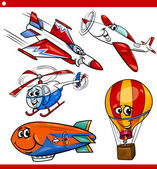 Funny cartoon aircraft vehicles set — Vector de stock