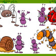 Happy insects set cartoon illustration — Stock Vector #44713457
