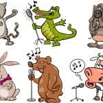 Singing animals set cartoon illustration — Stock Vector #44713465