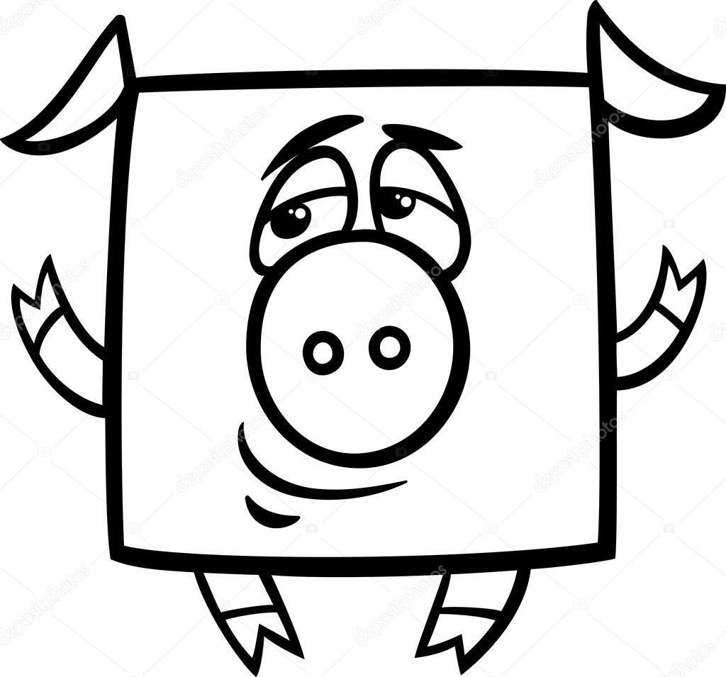 Pagina da colorare di maiale quadrato cartone animato