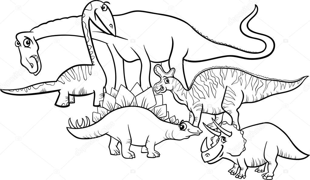Libro Para Colorear Madre Hija Ilustraciones Vectoriales Clip: Dibujos Animados De Dinosaurios Para Colorear Página