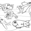 Planes aircraft group coloring page — Stock Vector #45566375