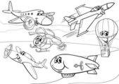 Planes aircraft group coloring page — Stock Vector