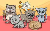 Cute kittens group cartoon illustration — Stockvektor