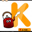 Letter k for kettle cartoon illustration — Stock Vector #45600321
