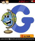 Letter g with globe cartoon illustration — Stock Vector