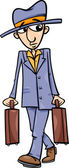 Man with suitcases cartoon illustration — Stock Vector