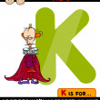 Letter k for king cartoon illustration — Stock Vector #45824523