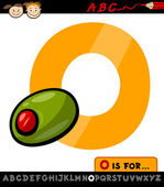 Letter o with olive cartoon illustration — Stock Vector
