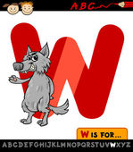 Letter w with wolf cartoon illustration — Stock Vector
