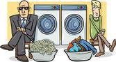 Money laundering cartoon illustration — Stock Vector