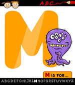 Letter m with monster cartoon illustration — Stock Vector