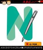 Letra n con la ilustración de dibujos animados de aguja — Vector de stock