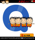 Letra q con la ilustración de cuatrillizos — Vector de stock
