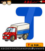 Letter t with truck cartoon illustration — Stock Vector
