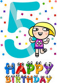 Fifth birthday cartoon design — Stock Vector