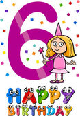Sixth birthday cartoon design — Stock Vector