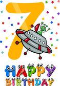 Seventh birthday cartoon design — Stock Vector