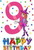 Ninth birthday cartoon design — Stock Vector