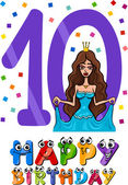 Tenth birthday cartoon design — Stock Vector