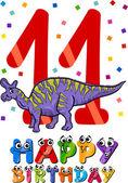 Eleventh birthday cartoon design — Stock Vector