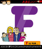 Letter f with family cartoon illustration — Stock Vector