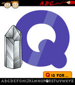 Letter q with quartz illustration — Stock Vector