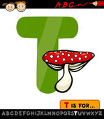 Letter t with toadstool cartoon illustration — Stock Vector