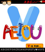 Letter v with vowels cartoon illustration — Vector de stock