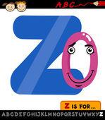 Letter z with zero cartoon illustration — Stock Vector