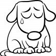 Постер, плакат: Sad dog cartoon coloring page