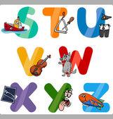 Utbildning tecknade alfabetet bokstäver för barn — Stockvektor