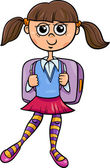 Primary school girl cartoon illustration — Stock Vector