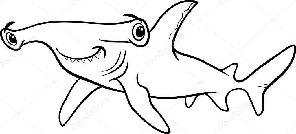 libro de colorear de tiburón martillo — Vector stock © izakowski ...