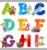 Education Cartoon Alphabet Letters for Kids — Stock Vector